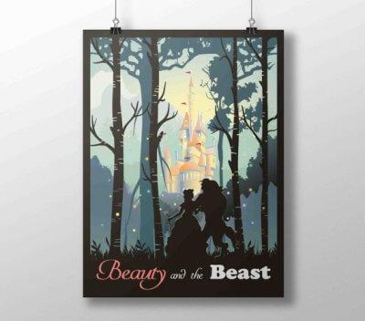 Poster A3 La Belle et la Bête